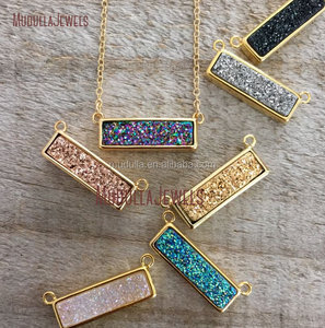 NO1390 Natural Druzy Gold Bar Necklace Titanium Drusy Druzy Necklace Druzy Jewelry