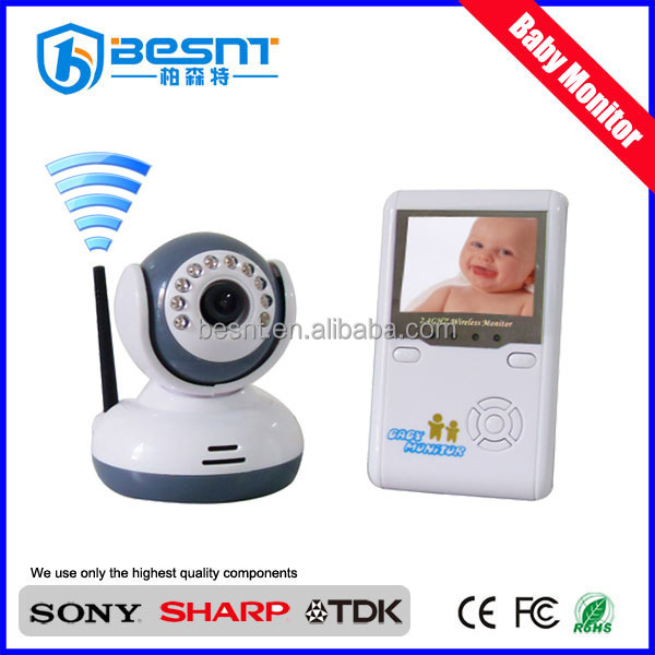 "Besnt digitale sd card baby monitor wireless kit, cmos 380 linee tv baby monitor 2,4""lcd bs-w217 baby monitor"