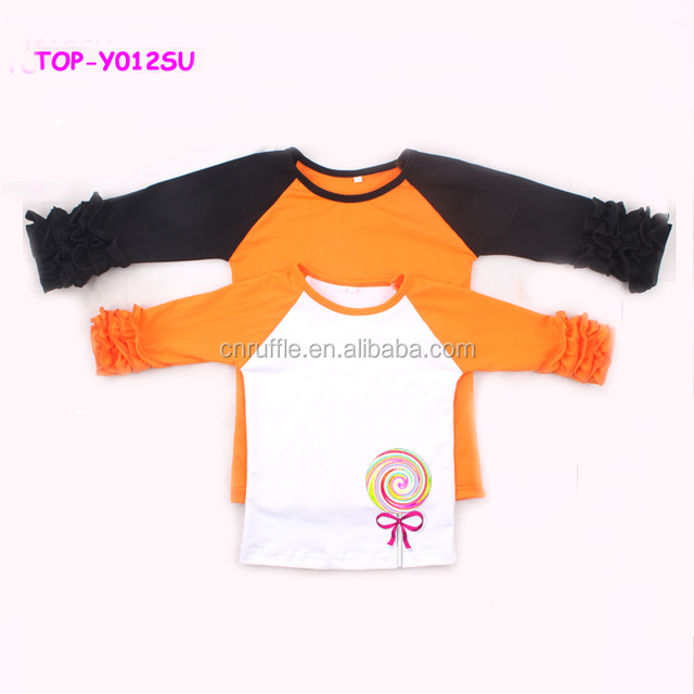 f096cd54cc8 Hot Sale Triple Ruffle Raglan Shirts Children Clothes Girls Baseball Tee  Shirts Wholesale