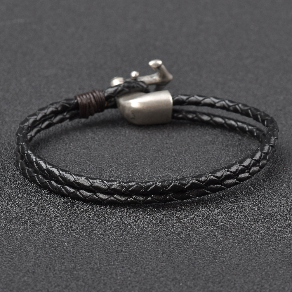 Wholesale Products Men Brown Leather Bracelets With Anchor