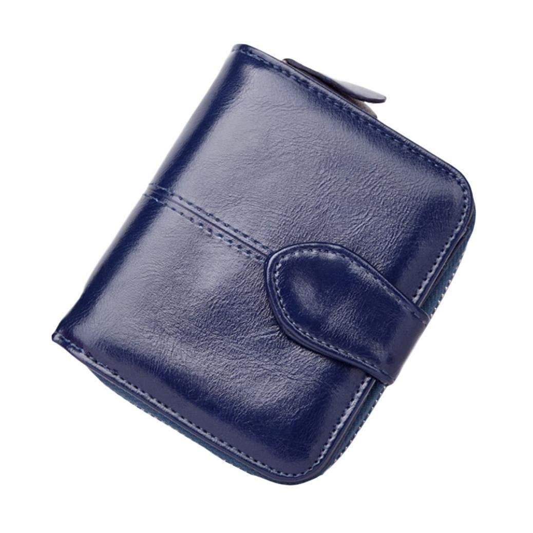 Koolee Women Mini Short Wallet Two Money Clip Clutch Bag PU Zipper Change Purse (Blue)