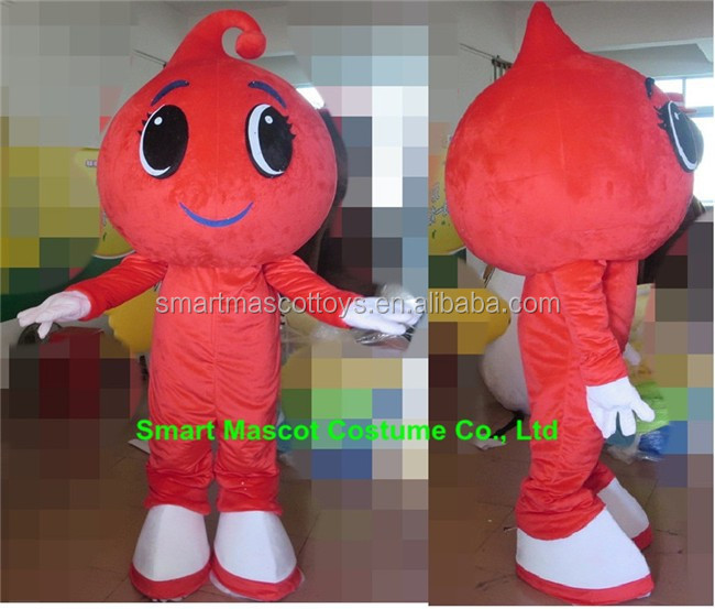 Hand made plush good visual rain drop mascot costume smiling raindrop mascot costume for adults