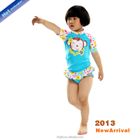 2016 childern girl anti-UV swim wear/child baby sun block beachwear/with swimming cap rash guard