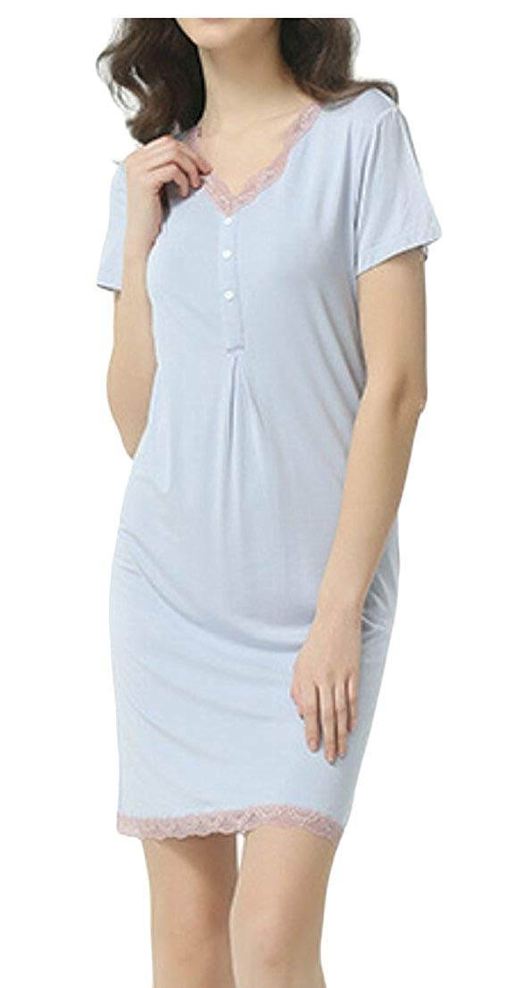 9bfee6f2dc Get Quotations · GenericWomen Summer Night Gowns Cotton Sleep Shirts  Pajamas Dress