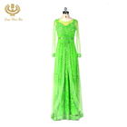 Wholesale Green Print Women Gown Chiffon Long Sleeve Muslim Evening Dress