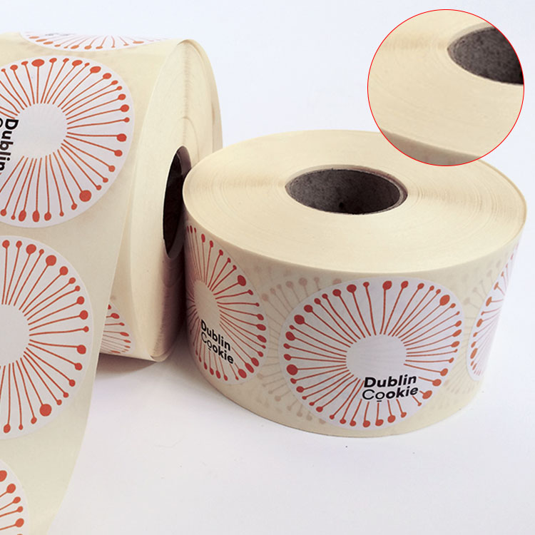 Adhesive Custom Brown Kraft Paper Sticker, Round Kraft Paper Label, Kraft Paper Sticker In Rolls