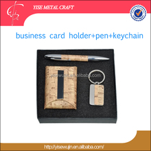Business Gift Set Executive Imitation Wood-grain Leather Business Card Holders Key Hooks Pen