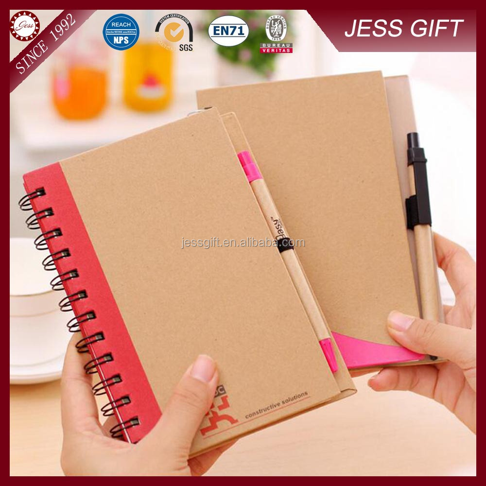 Cheap custom A5 kraft material student notebook with free pen together