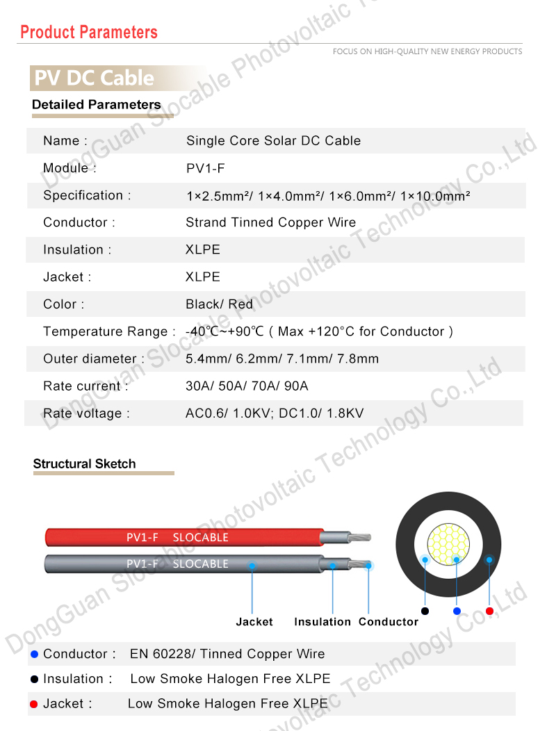 TUV approved XLPE double insolation PV system 4mm2 single core solar wire solar cable