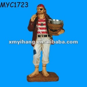Polyresin pirate butler wine decanter holder
