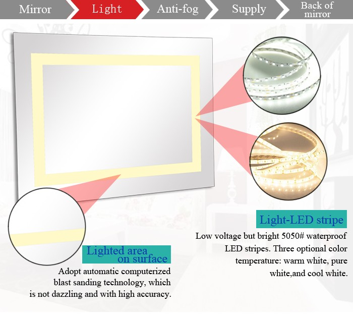 Retractable Lighted Up Bathroom Smart Mirrors Heating Electric Film Mirror In High End