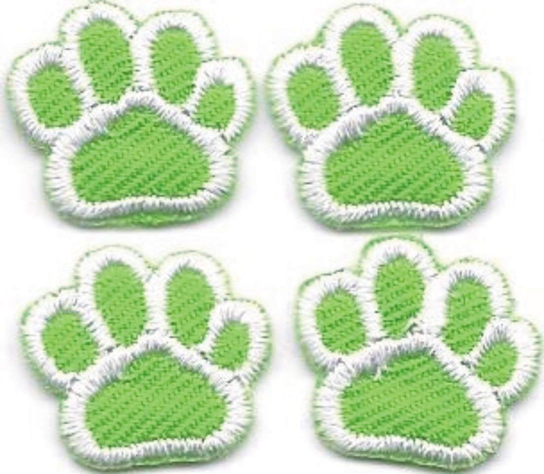 Applique Patches Green White Dog Animal Paw Print Embroidery Applique Patch 5inches X 5inches 1 Lot of 4 Pcs