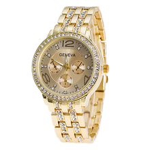 Geneva Fashion Design With Many Crystal Luxury Alloy Metal Strap Men Top Brand Quartz Diamond Watch Cheap Price