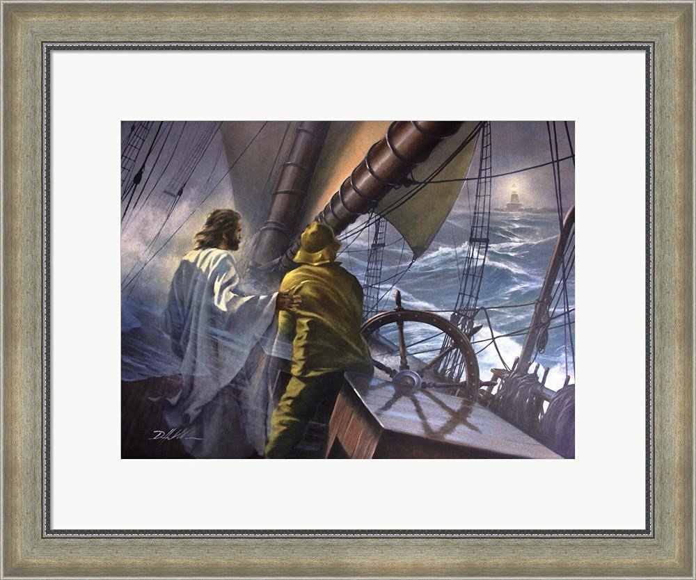 At The Helm by Danny Hahlbohm Framed Art Print Wall Picture, Silver Scoop Frame with Hanging Cleat, 24 x 20 inches