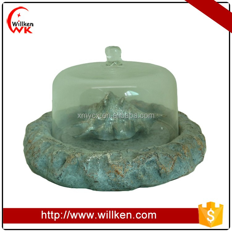 Artificial resin sea shell with clear glass dome home decor