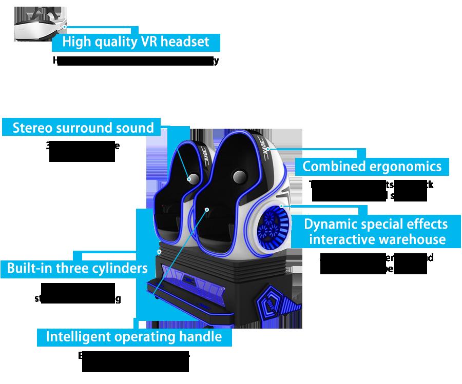 Top Kualitas 2019 Virtual Reality 9D Simulator Bioskop Permainan VR Telur Kursi dengan 2 Kursi