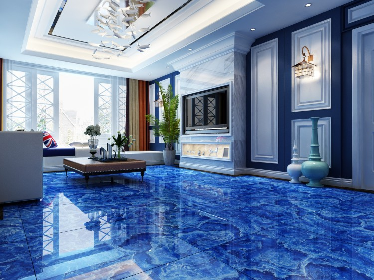 Blue marble tile flooring alyssamyers for 12x12 living room ideas