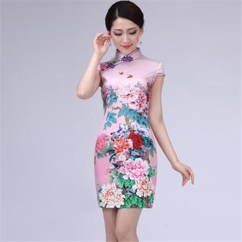 f9dda0d38 fashion Women ladies elegant rose flower print short sleeves sexy short  chi-pao qipao cheongsam