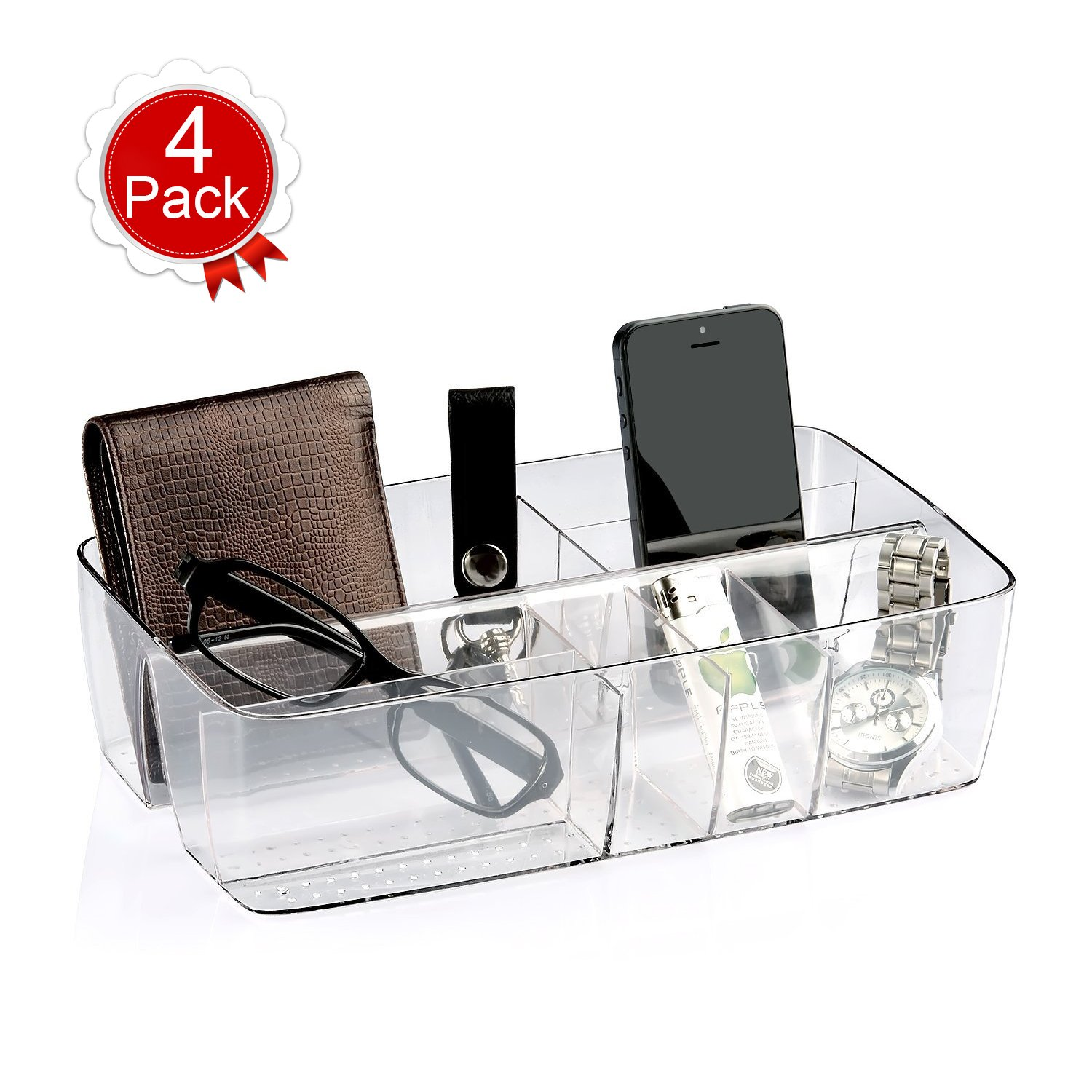 """BUDGET & GOOD 4 Pack Drawer Organizer Trays for Desk, Utensils, Tools, Crafts, Vanity, Office Supply Caddy - 10.24"""" x5.51"""" x 2.76""""- Clear"""