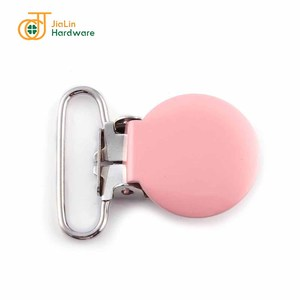 Round 25mm suspender clip baby mitten pacifier clips pinky color