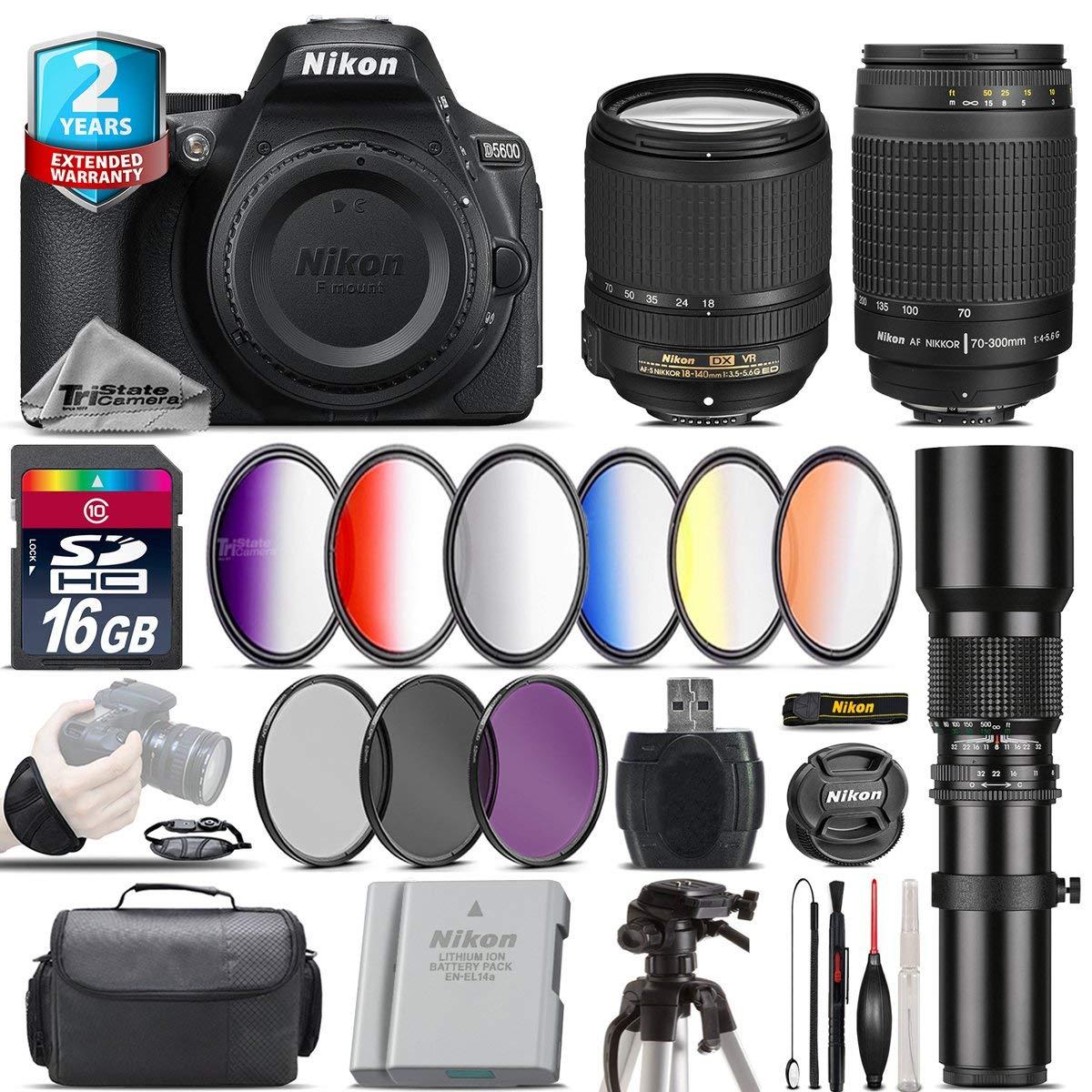 Holiday Saving Bundle for D5600 DSLR Camera + 70-300mm G Lens + 18-140mm VR Lens + 500mm Telephoto Lens + 6PC Graduated Color Filter + 2yr Extended Warranty + Backup Battery - International Version