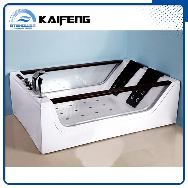 Two Side Glass Jet Whirlpool Bathtub with TV