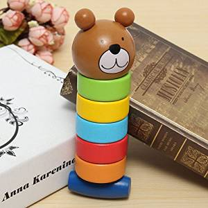 Paleo 2 In 1 Wood Bear Striking Tower Children Education Creative Toy Multicolor