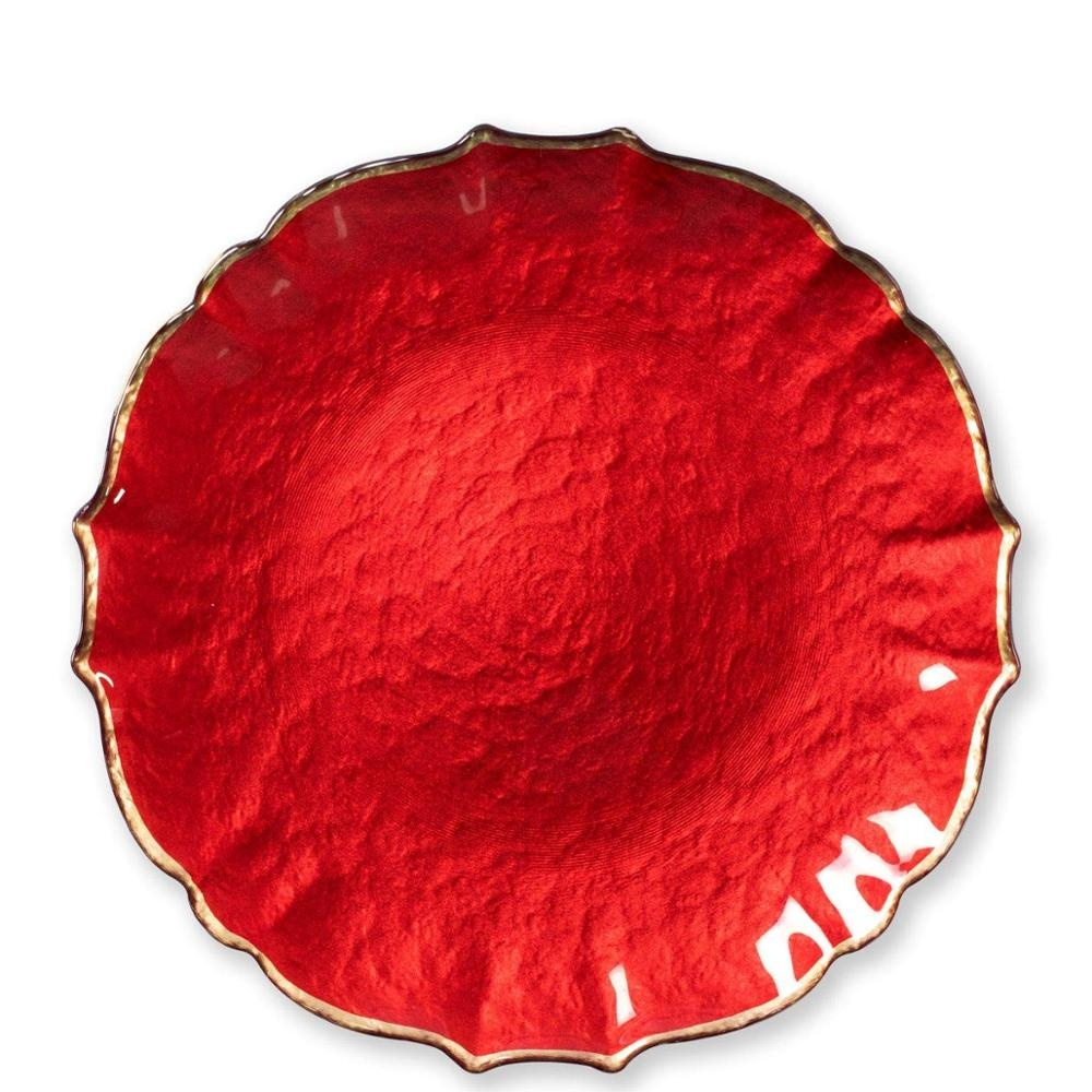 Wholesale High Quality Hot Sales Party Wedding Irregular Red Glass Charger <strong>Plate</strong>