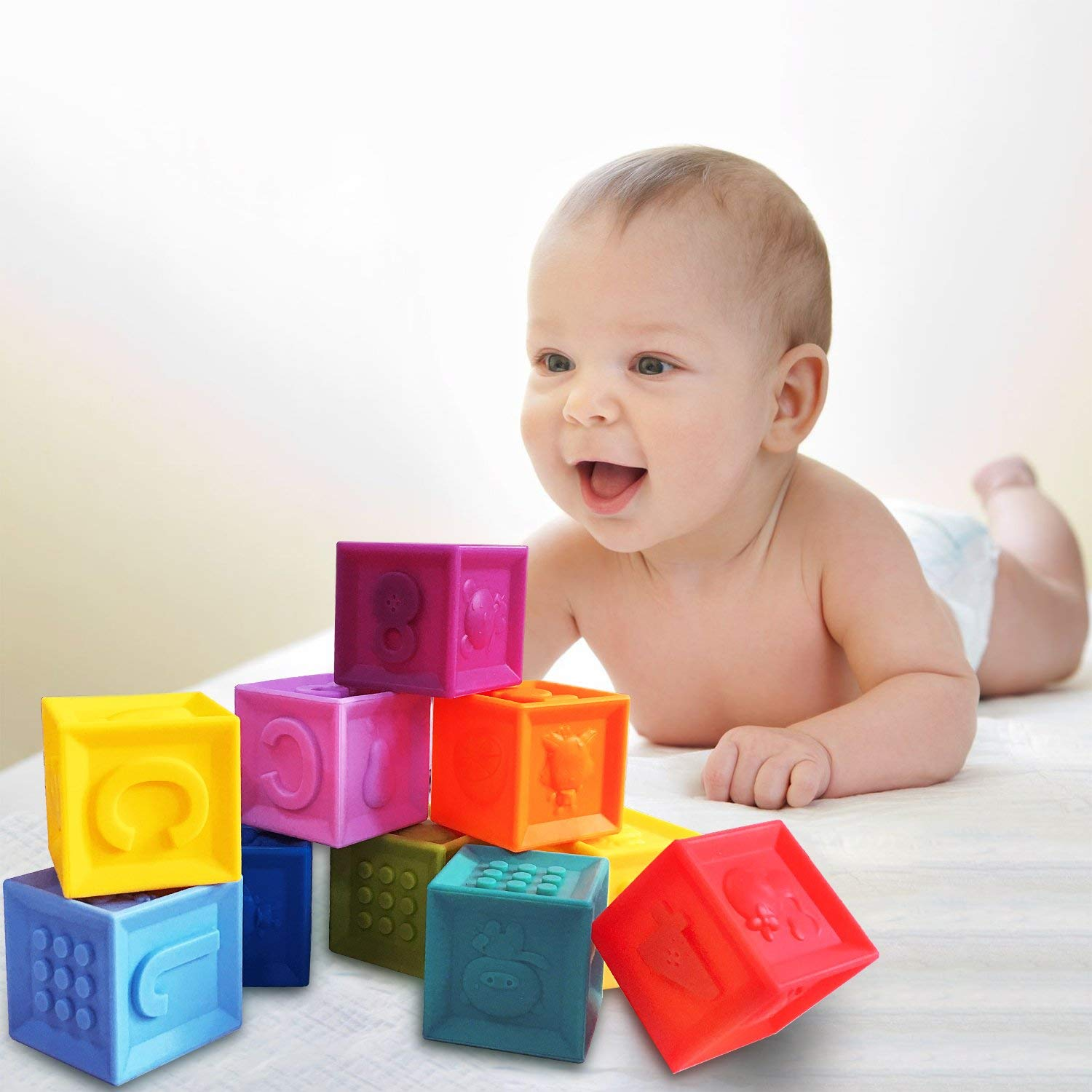 arVin Soft Block, Baby BPA Teething Educational Bath Toys for Kids, Food Grade, Squeeze Blocks for Toddlers with Sound Numbers Letters & Images (Set of 10, Cube size: 1.6 in)