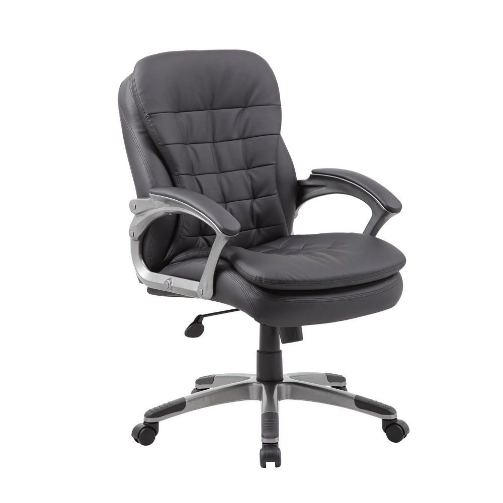 "Belton Faux Leather Mid Back Pillow Top Computer Chair Dimensions: 27""W x 30""D x 38-41""H Seat Dimensions: 21""Wx19.5""Dx18.5-21""H Black Faux Leather/Pewter Frame"