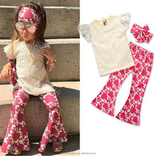 2018 children clothes clothing sets children's lace short-sleeved blouse + printed trousers + headdress 3piece suit