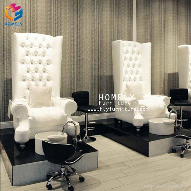 white velvet gold trim pedicure chairs white bowl with jet