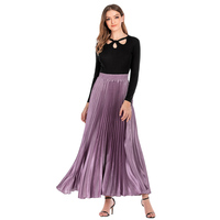 Slanna Newest Fashion Design solid color elastic high waist reflective pleated flared muslim long maxi skirt for women