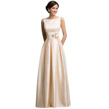 Grace Karin Sexy Satin Apricot Elegant Long Formal Evening Dresses 2016 New Arrival Wedding Dinner Dress Robe de Soiree 7539
