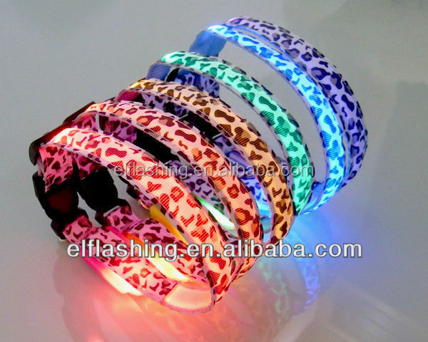 sexy led leopard pet dog leash collars