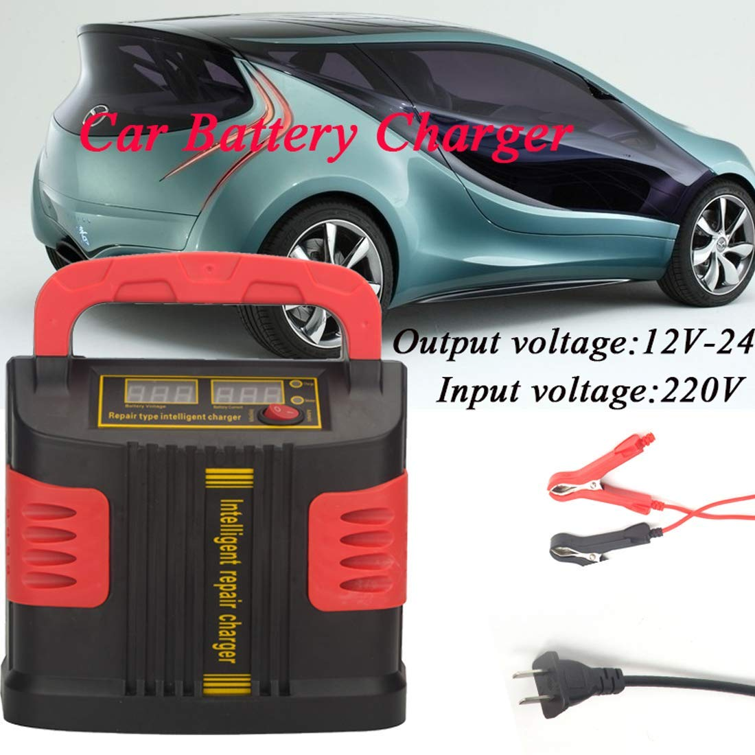 Auto Car Battery Charger 350W 12-24V Portable Electric Car Emergency Charger Booster Intelligent Pulse Repair