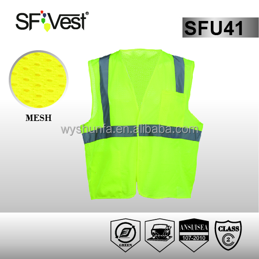 ansi standard motorcycle protective clothing hi vis workwear safety vest with one chest pocket