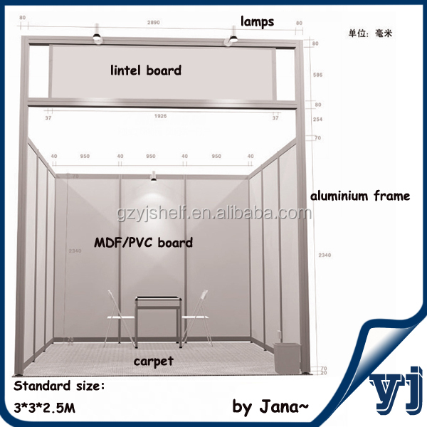 Exhibition Booth Materials : Standard exhibition booth material aluminium