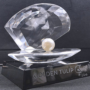 Beautiful Crystal Shell Awards With Pearl For Wedding Gifts