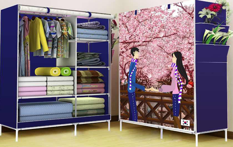 Simple Folding Movable Mini Sliding Portable Cabinet Cloth Wardrobe ghana Rack