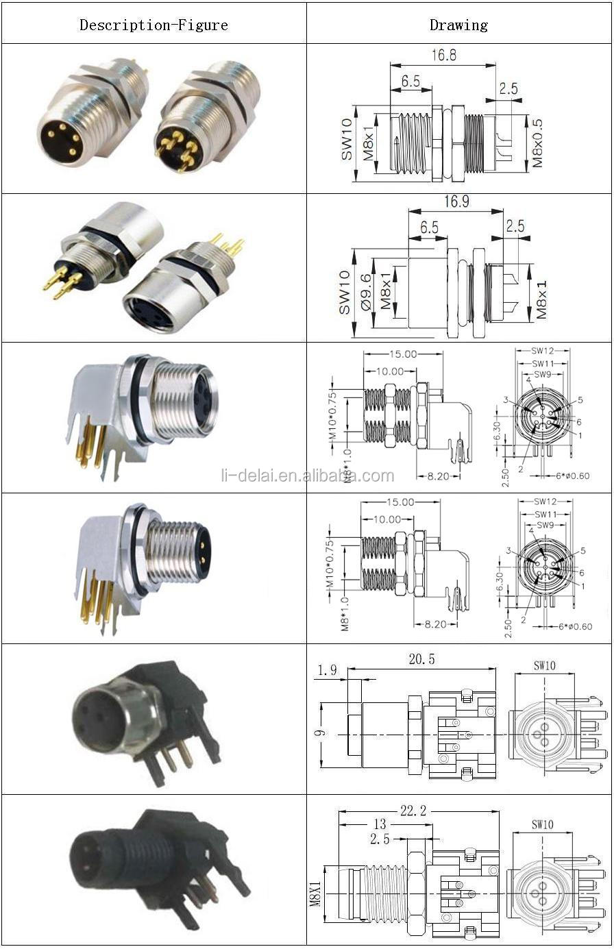 M8 M12 Male female cable Solder Assembly type 3 4 5 8 12 pin ip66 ip67. M8  cable connector