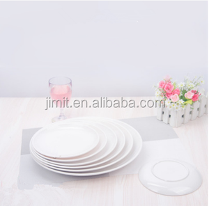 JMT-1145 White high gloss melamine 6 inch round shape durable food plate western food Steak plate