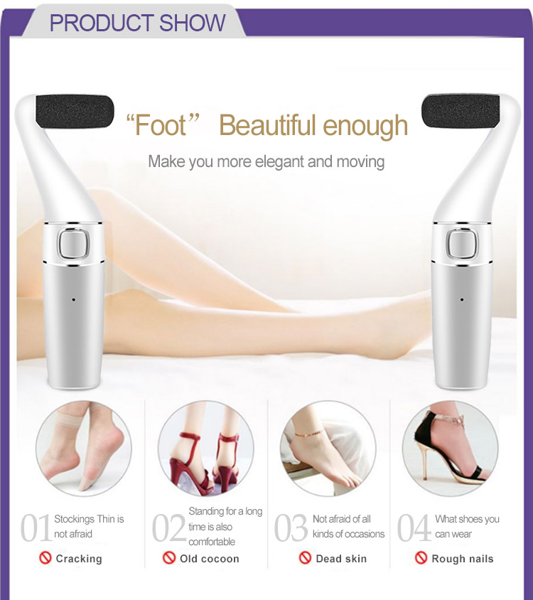 Rechargeable Pedicure Tools foot file with long handle Electronic Feet Care foot file callus remover