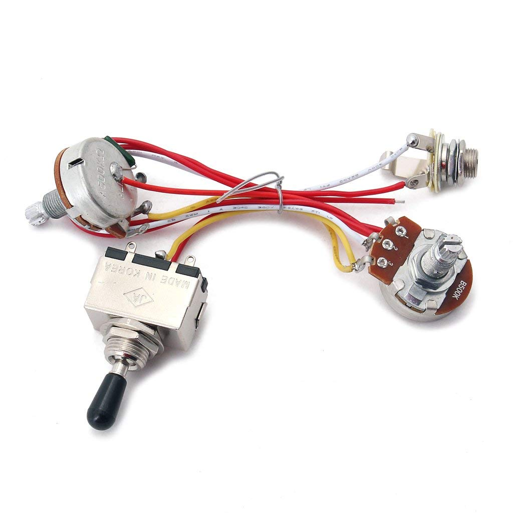 get quotations � monkeyjack guitar wiring harness kit 3 way toggle switch  500k pots for electric guitar cigar box
