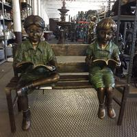Outdoor Decoration Bronze Boy And Girl Reading Books Statue