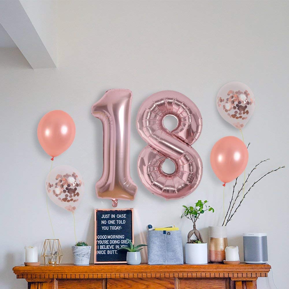14 PCS 40 Inch Rose Gold Number 30 Foil Mylar Balloons Set 18th Birthday Party