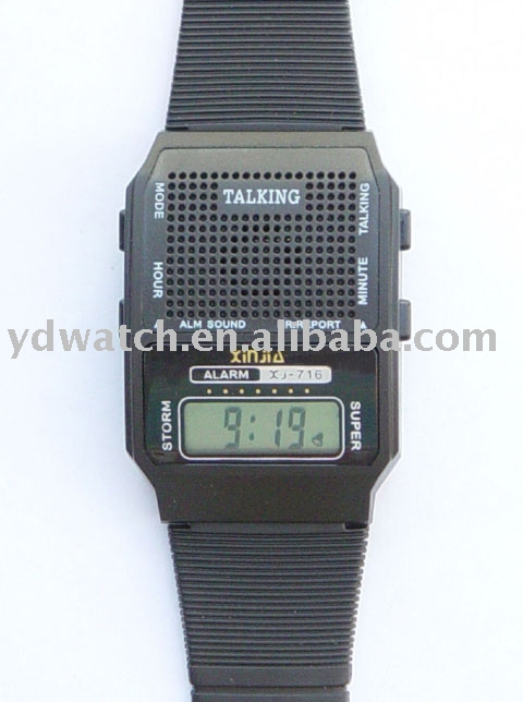 digital analog watch with talking invoice
