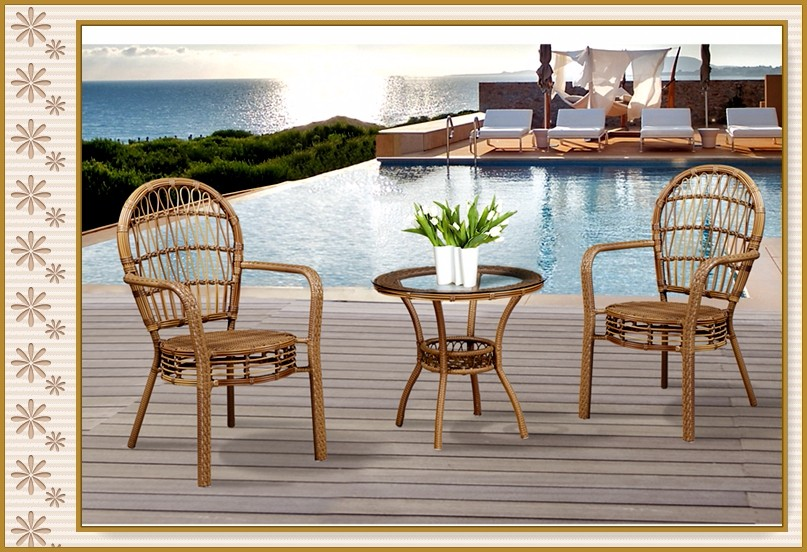 Captivating B136+D46 All Weather Outdoor Rattan Furniture Garden Classics Patio  Furniture