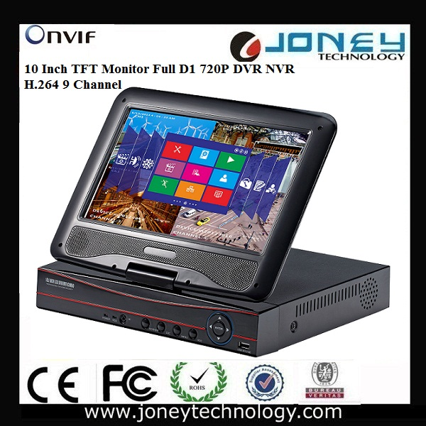 10 Inch TFT Monitor 9CH D1 720P High definition DVR NVR HVR All in one hybrid dvr