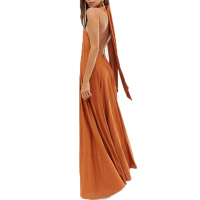 high fashion 2019 factory price halter trapeze pleated maxi dress with ring detail